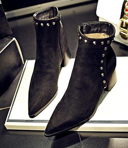 Ei&iLI Bottes courtes femmes Chunky talon Zipper Fashion bottes / a souligné Toe cuir robe noir / rouge , black , 33