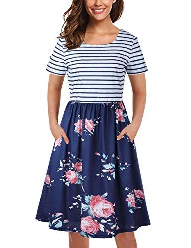 Tecrew Womens Striped Short Sleeve Floral Print Knee Length Midi Dress With Pockets