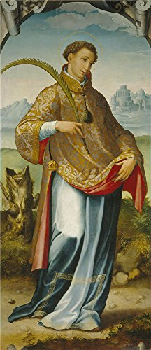 Perfect Effect Canvas ,the Amazing Art Decorative Canvas Prints Of Oil Painting 'Correa De Vivar Juan Saint Steven The Imposition Of The Chasuble On Saint Ildephons 1559 ', 12 X 28 Inch / 30 X 71 Cm Is Best For Laundry Room Decor And Home Artwork And Gifts (Tote Wine Tuscany)