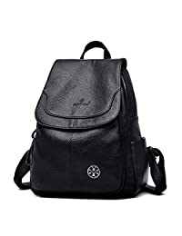 Women Backpack Purse, Genuine Leather Large Capacity Zipper Casual Shoulder Bags for Ladies and Girls (Black)