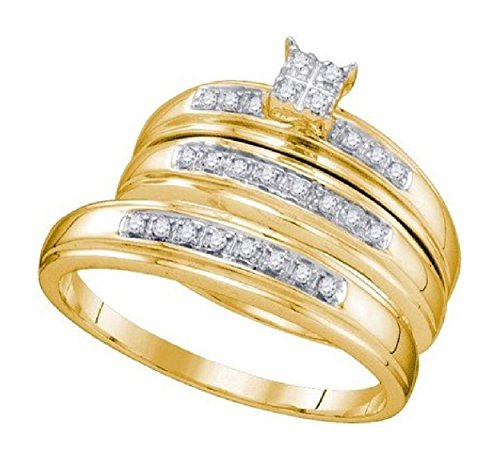 0.2 cttw 10k Yellow Gold Trio Diamond Wedding Rings For Him and Her