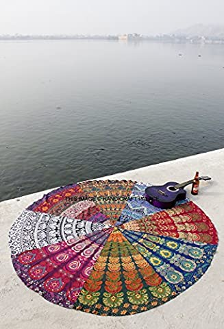 Indian Multi Mandala Round Roundie Beach Sofa Throw Tapestry Hippie Yoga Mat Rug Bohemian By (Indian Design Throw Rugs)