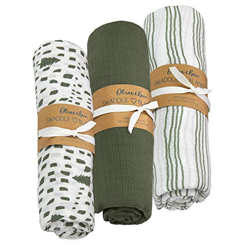 Oliver & Rain Baby Swaddle Sampler - 3-Pack Newborn 100% Organic Cotton Muslin Swaddle Blankets (Green Tree & Stripe)