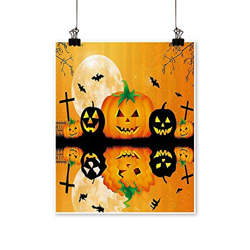 for Home Decoration Spooky Carved Halloween Pumpkin Full Mo with Bats and Grave by Lake for Home Decoration No Frame,20