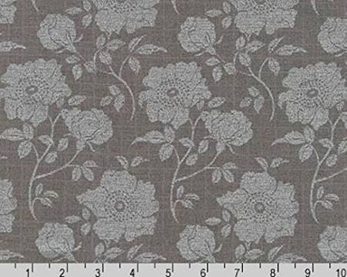 - Shimmer 2 Cotton Quilt Fabric Tonal Floral Print Smoke