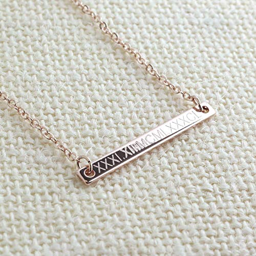 - Same Day Shipping Roman Numeral Bar Necklace - NamePlate Personalized Bar 16k Gold Silver Rose Gold Delicate Initial charms Machine Engraving necklace Best Graduation Day gift