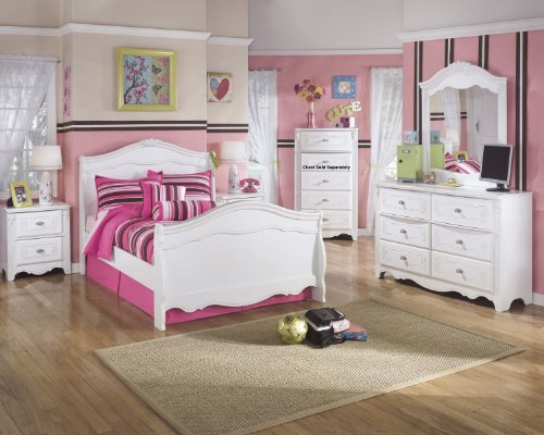 Exquisite Youth Full Size Sleigh Bed Room Set in White Color, Full Bed, Dresser, Mirror, Nightstand by FurnitureMaxx