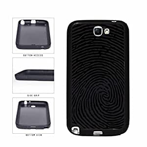 Black And Gray Dark Finger Print TPU the RUBBER Phone Case Back Cover Samsung Galaxy Note II out 2 N7100 months