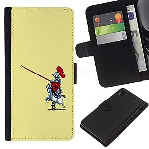 Sony Xperia Z2 D6502 D6503 D6543 L50t L50u , la tarjeta de Crédito Slots PU Funda de cuero Monedero caso cubierta de piel ( Knight Warrior Funny Caricature Rocking Horse)