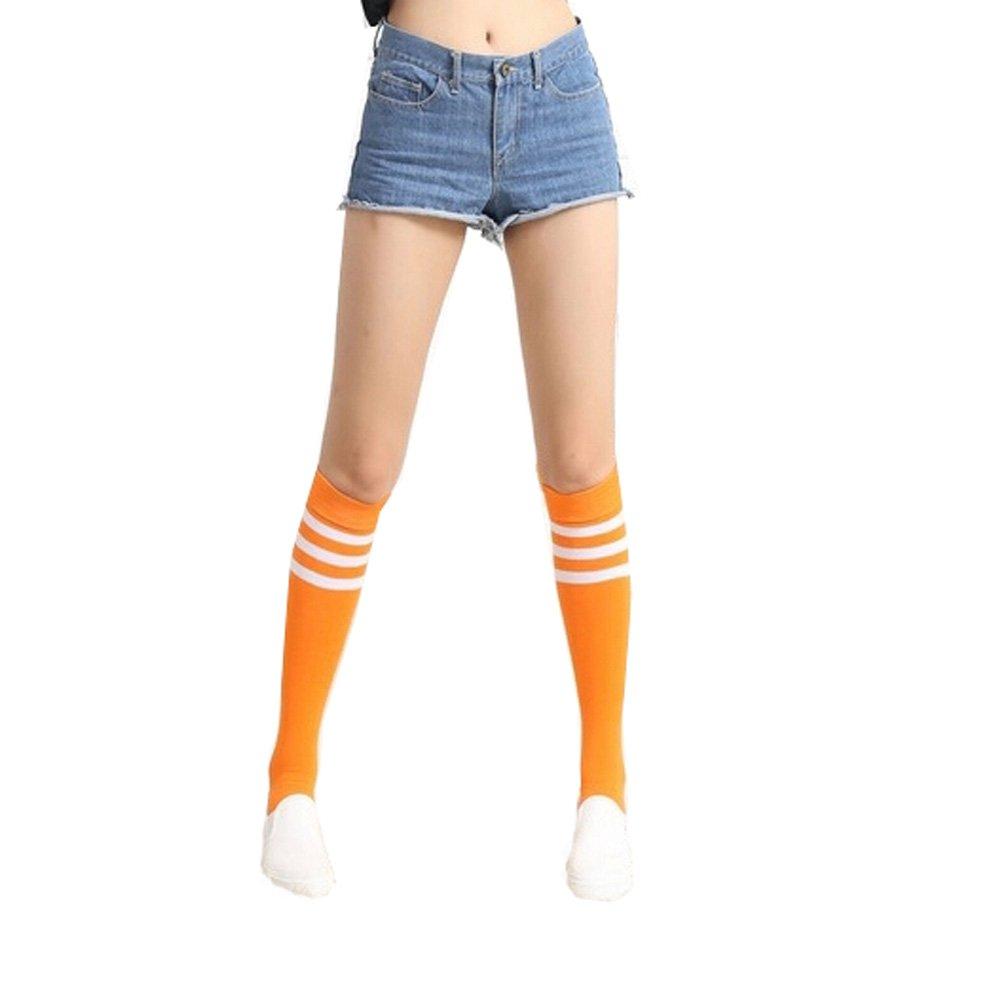 Three Stripes Knee High Socks Students Long Stockings Athletic Socks,Orange