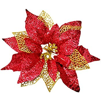 glitter poinsettia christmas tree ornaments pack of 12 burgundy - Poinsettia Christmas Decorations