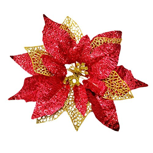 Glitter Poinsettia Christmas Tree Ornaments Pack Of 12 (Burgundy)