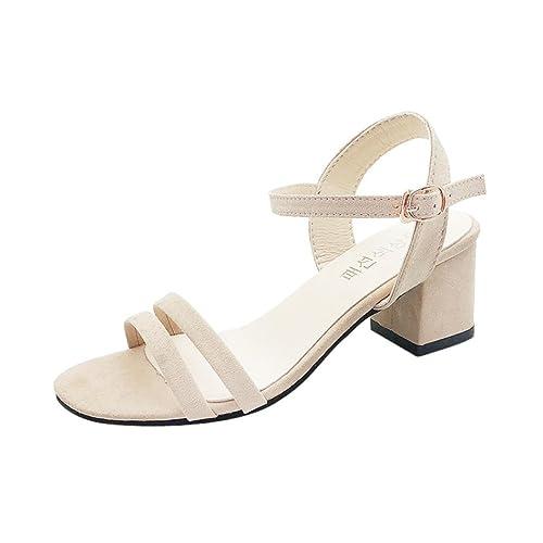 Sandali con Tacco Estivi Donna, UOMOGO? Sandali Corda a Maglia Roma Infradito estive Moda Spiaggia Pantofole (CN:40, Rosa)
