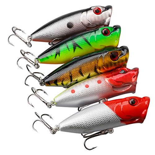A-SZCXTOP Fishing Lures Topwater Floating Popper Poper Lure Hooks Bait Bass (Pike Popper)