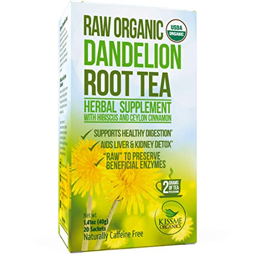Dandelion Root Tea Detox Tea - Raw Organic Vitamin Rich Digestive - 1 Pack (20 Bags, 2 grams each) - Helps Improve Digestion and Immune System - Anti-inflammatory and (Liver Concentrate)