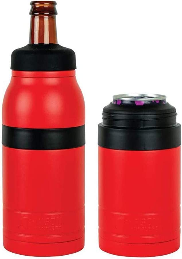 Bison Coolers 2 in 1 Can & Bottle Insulated Cooler Thermos | Vacuum Insulated Stainless Steel Beer Bottle/Can Cooler 12 oz (Double Play) (Red)