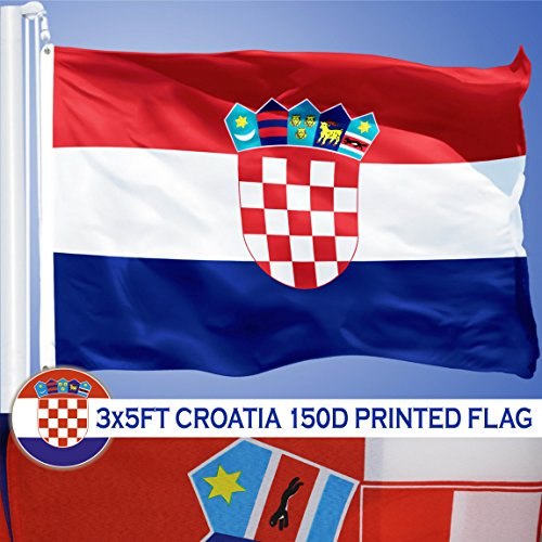 - G128 Croatia Croatian Flag 3x5 ft Printed Brass Grommets 150D Quality Polyester Flag Indoor/Outdoor - Much Thicker and More Durable than 100D and 75D Polyester