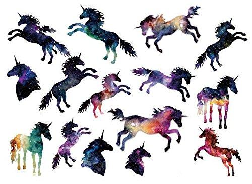 Set of 2 Waterproof Temporary Fake Tattoo Stickers Watercolor Unicorn Horse Animals Cartoon ()