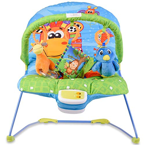 HONEY JOY Baby Rocker Chair, Adjustable Reclining Chair with Music/Vibration Box/Toys, Baby Bouncer (Giraffe)