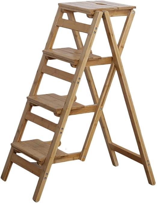 HOMRanger Escalera Taburete Hogar Multiuso Bambú Plegable Conjunto Completo Durable, 4 Colores, Taburete de 4 escalones de Doble Uso (Color: A, Tamaño: 41x66x92cm): Amazon.es: Hogar