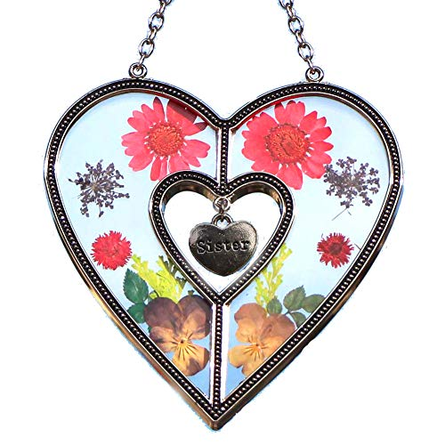 Stained Glass Suncatcher For Windows Sister Heart Sister Suncatcher Windows with Pressed Flower Heart - Heart Suncatcher - Sister Gifts Gift for Sister's Day