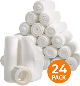 "Gauze Bandage Rolls with Tape (24-Pack) Stretch Bandage Roll, 4"" x 4 Yards Stretched, Gauze Wrap, Bulk Gauze Rolls"