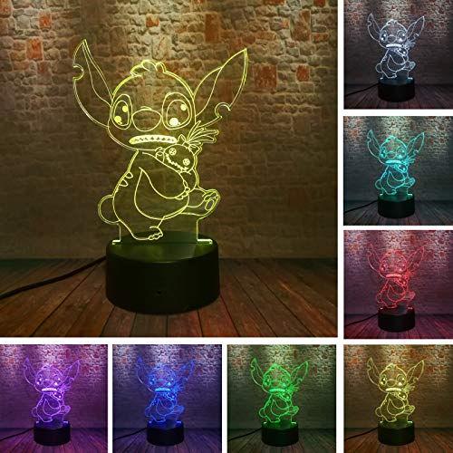 2019 Novelty 3D Cartoon Cute Nifty Stitch with His Friend Figure Action 7 Color Change Touch Base with IR Remote Control Home Boys Girls Room Decor Night Light Child Kids Xmas Gift (Stitch & Friend)