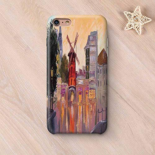 Cityscape Printing Compatible with iPhone Case,Painting of Moulin Rouge in Paris City Centre of Love Vintage France Artprint Home Compatible with iPhone 6 Plus / 6s Plus,iPhone 6 Plus / 6s Plus ()