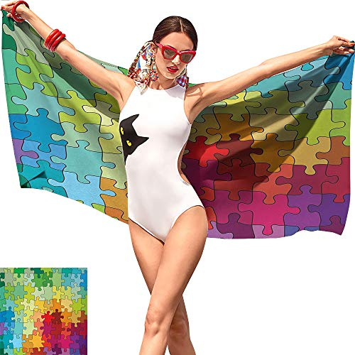 (Gabriesl Abstract Girls Beach Towel,Colorful Puzzle Pieces Fractal Children Hobby Activity Leisure Toys Cartoon Image Multicolor,Adult Beach Towel W27 x)