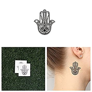 b455d3d4d Amazon.com : Tattify Hamsa With Eye Temporary Tattoo - Cover Up (Set of 2)  - Other Styles Available - Fashionable Temporary Tattoos - Long Lasting and  ...