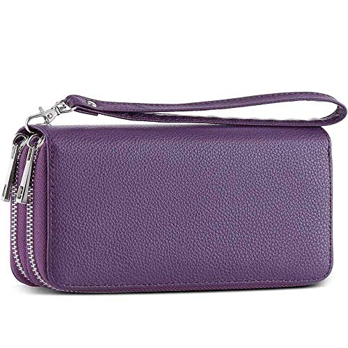 XeYOU Double Zipper Around Long Clutch Wallet Card Holder Purse with Coin Pocket for Cash, Coin, Card and Smart Phone