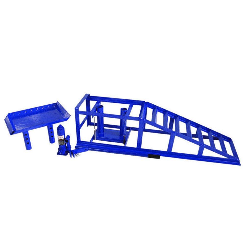 Color Azul LARS360 Set de 2 Rampas para Coches Rampas para Veh/ículos Rampa Rampas de elevaci/ón para Mantenimiento de Coche 114 x 34 x 27 cm Capacidad de Carga 2T