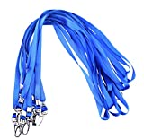 Rocclo Lanyard 10 Pack For Office ID Name Tags and Badge Holders (Blue)