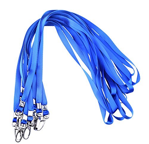 Rocclo Lanyard 10 Pack For Office ID Name Tags and Badge Holders (Blue) -