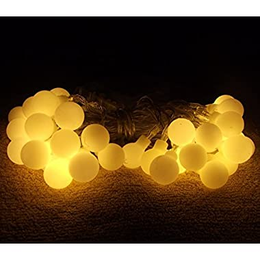 4M 40 LED Ball Styled String Lights Battery Operated for Christmas, Partys, Wedding, New Year Decorations, etc. (Warm white)