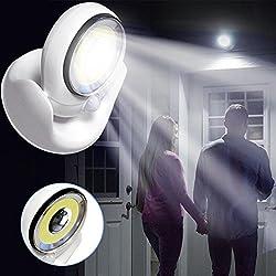 XEDUO Sensor Light, Spin 360-Degrees Light Cordless Motion Activated Sensor Light LED Light Swivels (White)