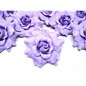 """(100) Silk Purple Roses Flower Head - 1.75"""" - Artificial Flowers Heads Fabric Floral Supplies Wholesale Lot for Wedding Flowers Accessories Make Bridal Hair Clips Headbands Dress 5"""