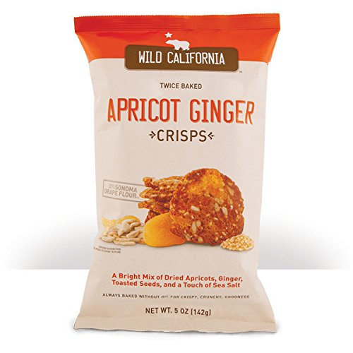 Twice Baked Crisps by Wild California Crisps, Apricot Ginger Crisps - Twice Baked Without Oils and Made From Grape Seed Flour (5 Ounce Bags, Pack of (Twice Baked Potato)