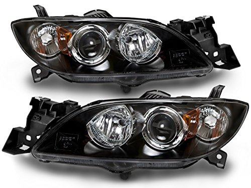 HEADLIGHTSDEPOT Compatible with Mazda 3 4-Door Sedan Halogen Headlights Headlamps Set New Pair