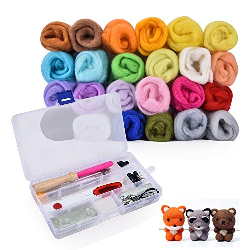 Needle Felting Kit, 24 Colors Wool Needle Felting Starter Set Hand Spinning DIY Fibre Yarn Craft Supplies with Wool Felting Tools and Instruction, Ideal Gift for Kids