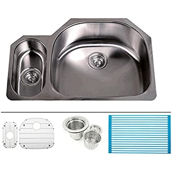 32 Inch Stainless Steel Undermount 20/80 Double D Bowl Offset Kitchen Sink