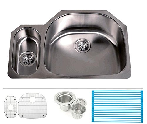 (32 Inch Stainless Steel Undermount 20/80 Double D-Bowl Offset Kitchen Sink - 16 Gauge FREE ACCESSORIES)