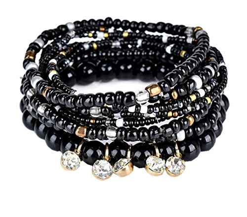 Wide Stretch Beaded Bracelet (Multilayer Bohemian Black Beaded Bracelet Crystal pendant Charm Stretch Beach Bangle Bracelet Jewelry 7 Colors for Women)