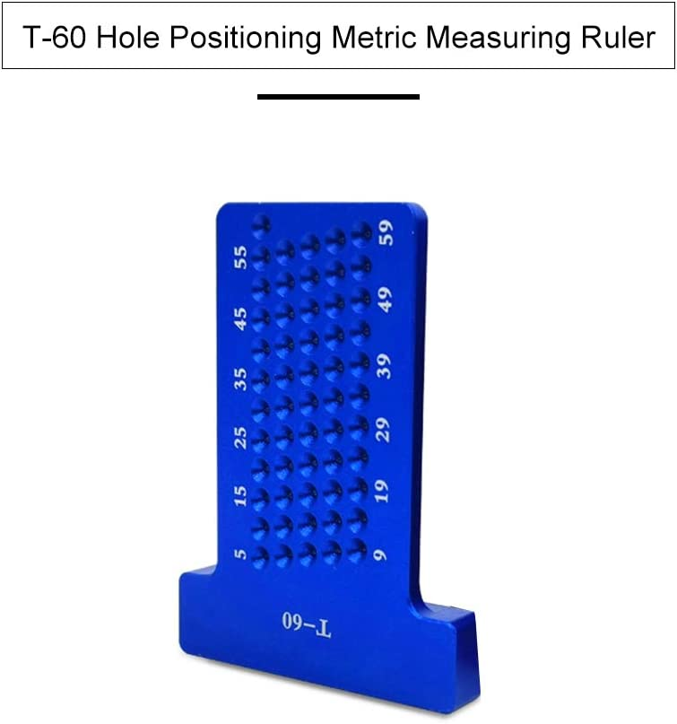 T-60 Hole Positioning Metric Measuring Ruler 5-60mm Straight Ruler T-Ruler Marking Ruler Woodworking Ruler for Parallel Line Hole Marking Construction Ruler
