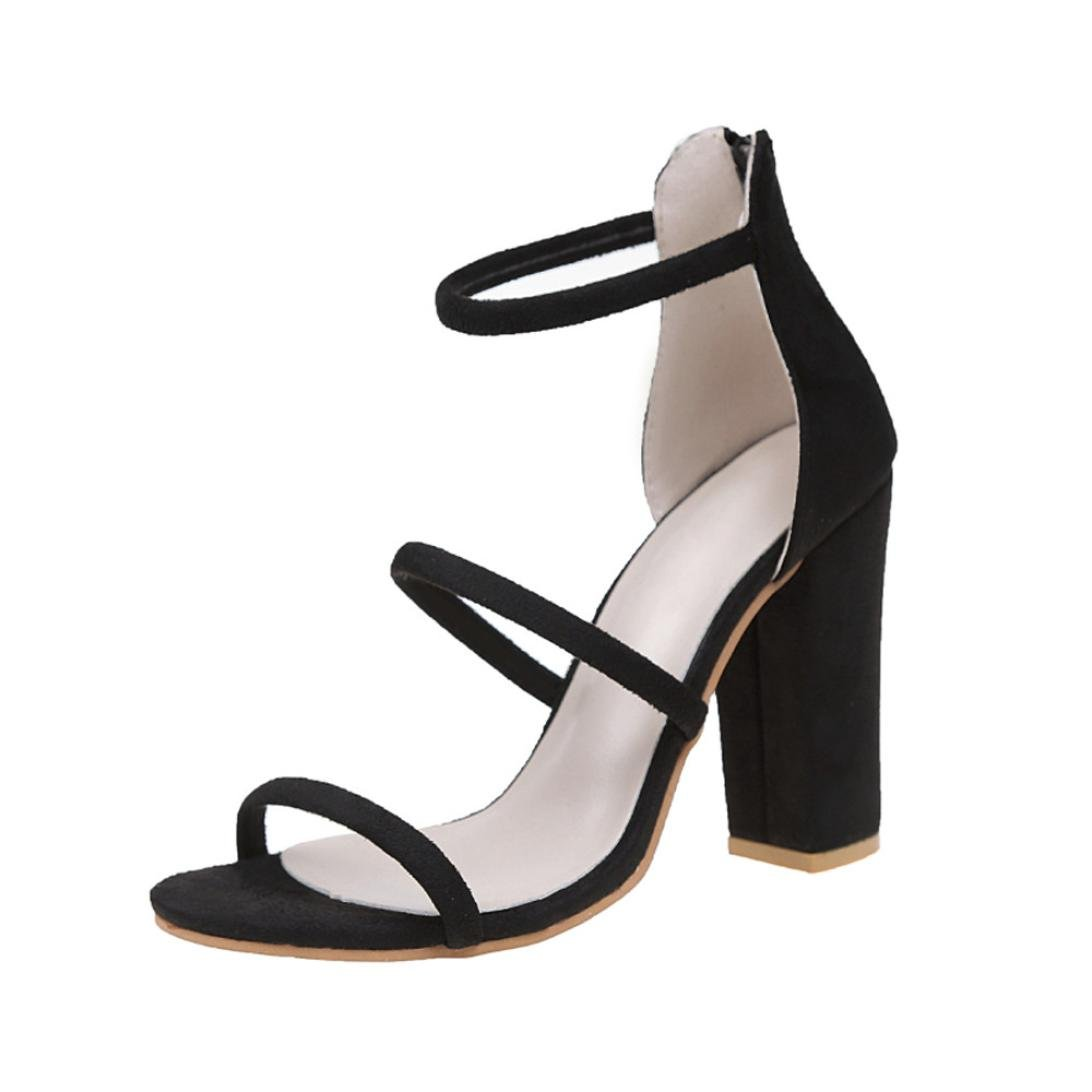 GBSELL Fashion Women Zip Ankle High Heels Sandals Party Open Toe Shoes (Black, 7)