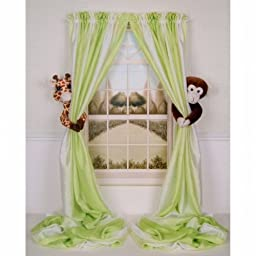 Curtain Critters ALGFMY240510COL Plush Safari Giraffe and Chocolate Monkey Curtain Tieback Collector Set