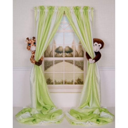 High Quality Curtain Critters ALGFMY240510COL Plush Safari Giraffe And Chocolate Monkey  Curtain Tieback Collector Set