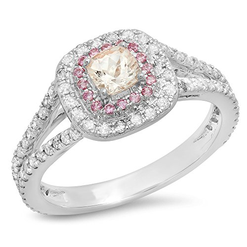 Dazzlingrock Collection 14K Cushion Morganite & Round Pink Sapphire & Diamond Bridal Halo Engagement Ring, White Gold, Size 6