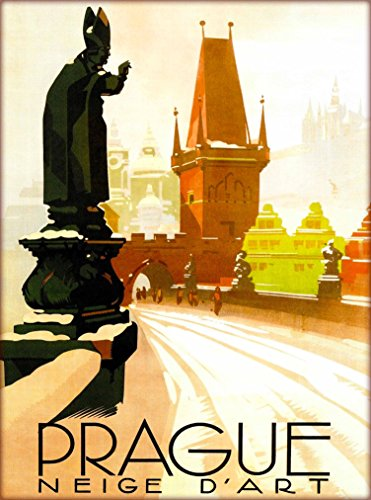 A SLICE IN TIME Praha Prague CRS Czech Republic Neige D' Art Vintage Travel Collectible Wall Decor Advertisement Art Poster Print. 10 x 13.5 inches