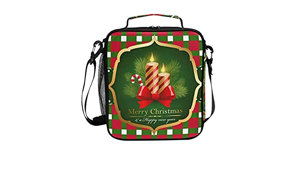 d63bf9319f34 Amazon.com: FOLPPLY Merry Christmas Red Green Plaid Lunch Bag ...